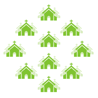 Green church graphics represent governmental structure.