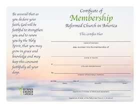 Membership certificate with faded sunset background