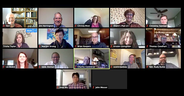 Screen shot of Zoom meeting with Vision 2020 team