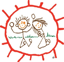 line drawing of boy and girl on their knees in circle with rays