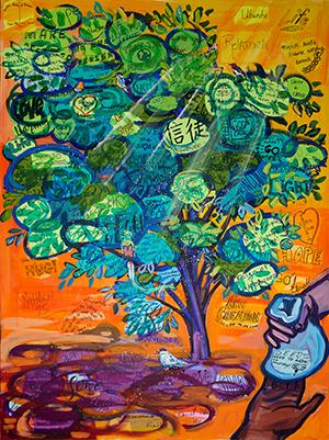 Art by Joel Tanis depicting people planting a field