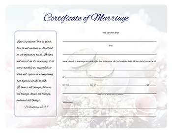 Image of marriage certificate with flowers and rings in faded background