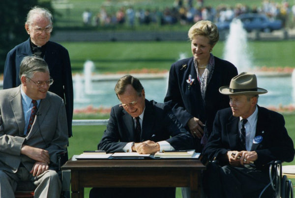 President Bush signed the ADA document